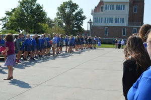 Seniors check in by Homeroom at the first fire drill of the school year. Photo by Molly Miller.