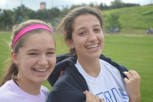 Freshman smile as the walk provided a well-deserved break from the busy school day. Photo by Noelle Pick