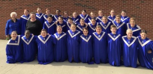 Miss Pruitte, top left, smiles with the Select Women's Choir at their competition in Atlanta, Georgia in March of 2015. Photo from Emma Herold.