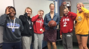 Basketball Players and Coach Schmidt, photo by Maddie Mingo (Left to right) Tehillah Alphonso '16, Madeline Shaffer '17, Mary Kate Mulhall '16, Coach Schmidt, Holly Banark '16, Megan Anderson '17