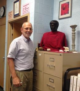 Mr. Mark Koesters and Julius Caesar in Room 210. Photo by Lauren Mayer