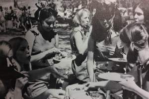 A group of girls eat lunch at Benson Park. photo by The Marian 1968