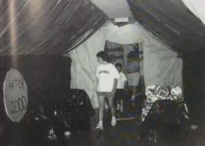Girls examine senior halls. Photo courtesy of Crusader Yearbook 2000